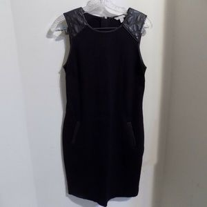 Banana Republic Black Dress with Leather Accents
